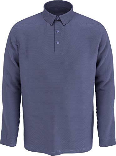 Callaway Swing-Tech Essential Herren-Golf-Poloshirt mit Langen Ärmeln, Herren, Poloshirt, Swing Tech™ Essential Long Sleeve Golf Polo Shirt, Navy Chambray Heather, Large