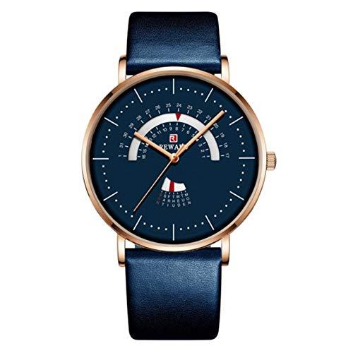 QIU Stave Top Brand Moda Reloj de Hombre de Lujo Impermeable de Acero Inoxidable Malla de Malla Reloj Reloj de Cita para Hombre Muchacho (Color : Leather Blue)