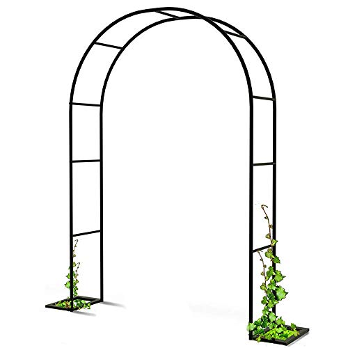 LODJ Iron Garden Arch Trellis Garden Arbor Pergola with Stand for Climbing Plant Outdoor Wedding Party Vines Vegetables,Black-Black_2mX2.3m