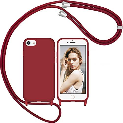 Nupcknn Liquid Silikon Handykette Hülle für iPhone 7/8/SE 2020 Hülle und 1 Displayschutz Schutzfolie Necklace(abnehmbar) Hülle mit Kordel zum Umhängen Handy Schutzhülle mit Band (Rotwein)