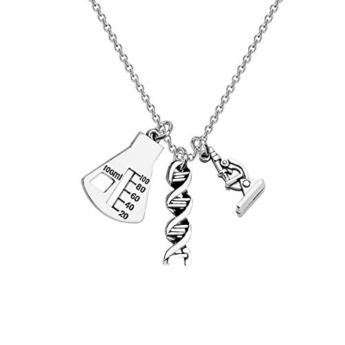 CHOORO Microscope And DNA Double Helix Necklace Science Gift for Laboratory Technologist/Science Student (3 Charm necklace)