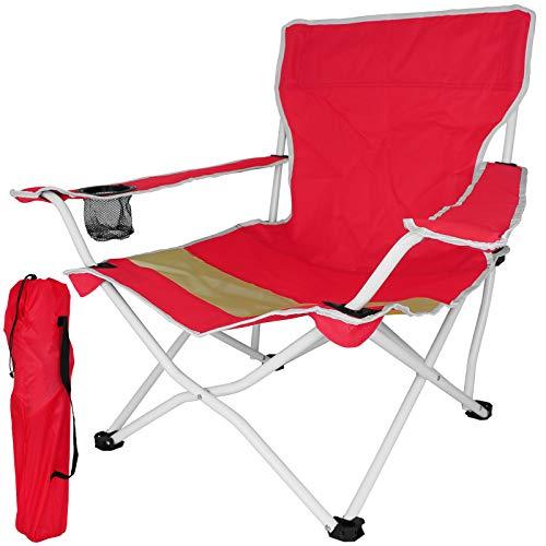TW24 Klappstuhl Beach mit Farbwahl Gartenstuhl klappbar Campingstuhl mit Armlehnen Getränkehalter Stuhl Strandstuhl Anglerstuhl (Rot)