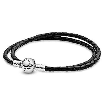 PANDORA Jewelry Black Leather Charm Sterling Silver Bracelet 16.1