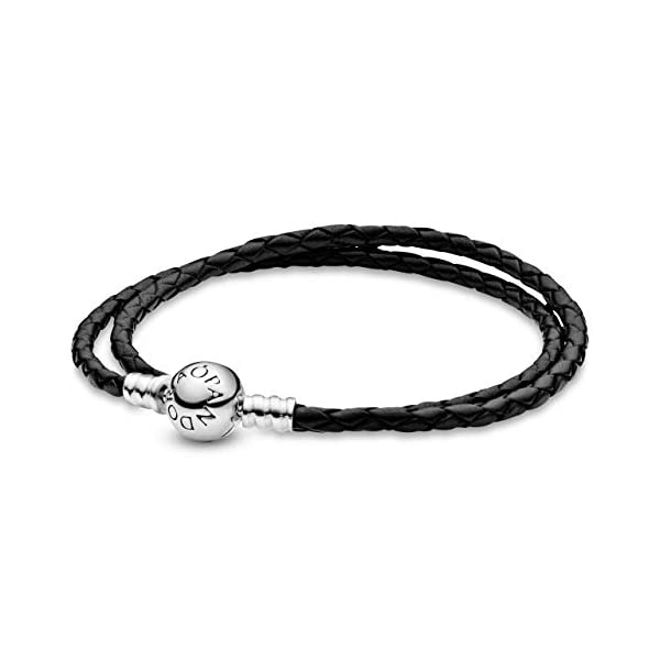 PANDORA Jewelry Black Leather Charm Sterling Silver Bracelet 1
