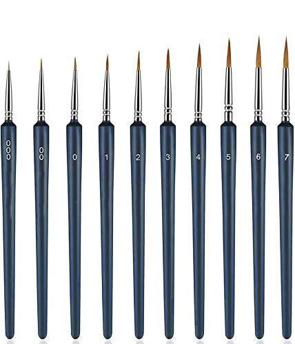 10 Piezas Juego de Pinceles de Detalles, de Pincel de Miniatura para Acuarela y Pintura de Acrílico