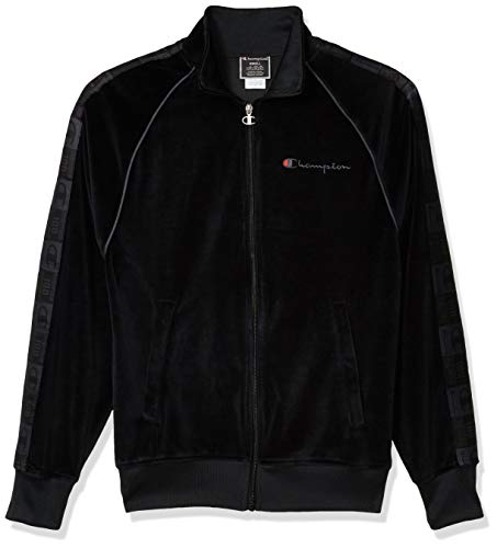 Champion LIFE Men's Velour Track Jacket, Black, X Large
