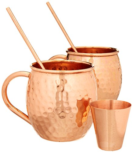 Hammered Moscow Mule Premium Barware Gift Set - Two 16 ounce Pure Copper Mugs, Straws & Shot Glass Included - Luxury In-Home Bar Accessories w/Recipe eBook Bonus