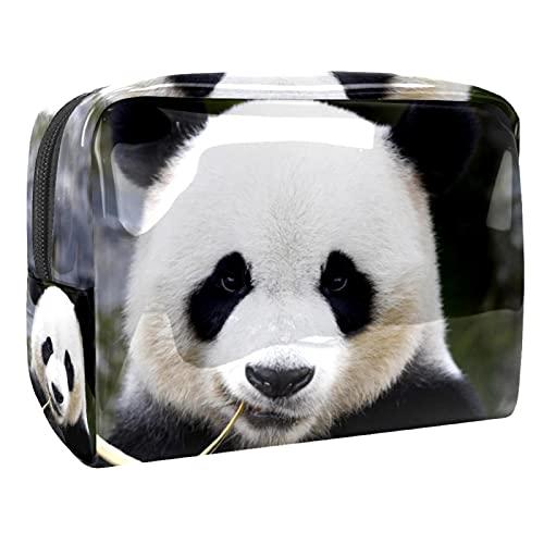 Grande Trousse de Maquillage pour Femmes, Trousse de Toilette de Rangement imperméable Panda Manger du Bambou pour Les Voyages, Organisateur de cosmétiques