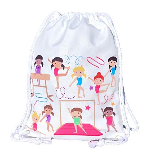 HECKBO® Mädchen Turnbeutel, Balletttasche Baumwolle - weiß, beidseitig mit bunten Turnerinnen Bedruckt, 40x30cm, geeignet auch für Turnunterricht, Kindergarten, Krippe, Reise - Mädchen Turntasche