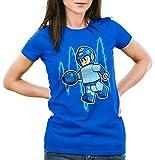 A.N.T. Mega Mini Camiseta para Mujer T-Shirt Videojuego Man Bloque, Color:Azul, Talla:S