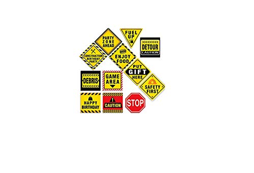 "12 PCS Traffic Signs Stickers Cutouts 8"" Construction Zone Birthday Party Supplies Decorations for Kids Boys"