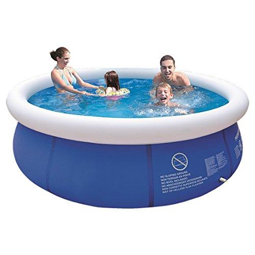 Jilong Marin Blue Rundpool Set Ø 300x76 cm mit Becken Pumpe Filter-Kartusche, Quick-Up Swimming Pool Fast-Set Kinder und Familien Schwimmbecken Schwimmbad für Garten und Terasse
