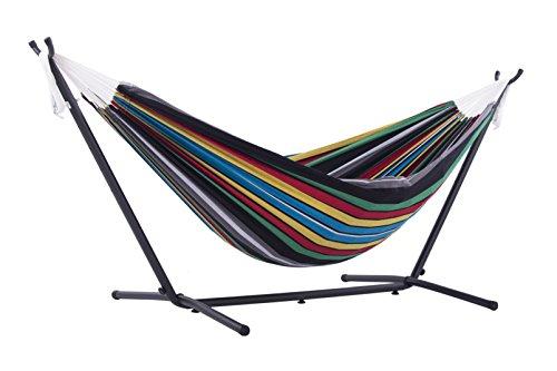 Oferta de Vivere UHSDO8-27 - Hamaca con soporte incluido, multicolor, 250 cm, doble, diseño Rio Nacht