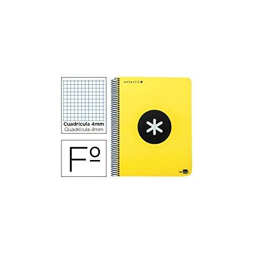Liderpapel Antartik - Cuaderno espiral folio tapa dura cuadro 4 mm, color amarillo fluorescente