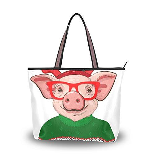 NaiiaN pour mère femmes filles dames étudiant cochon dans un pull de noël sacs à bandoulière sac fourre-tout sac à main Shopping sacs à main sangle légère