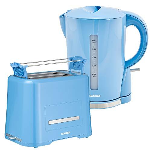 ALASKA Frühstück Set farbig 2209 DSB | Toaster + Wasserkocher hellblau | 50er Jahre Nostalgie Landhaus Stil