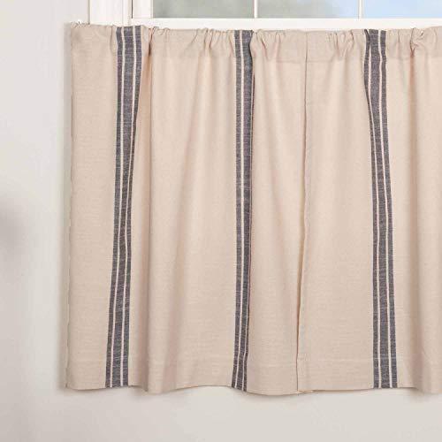 """Market Place Blue Grain Sack Stripe Tier Curtains, Set of 2, 36"""" Long, Farmhouse Style Blue & Natural Cream Café Curtains"""