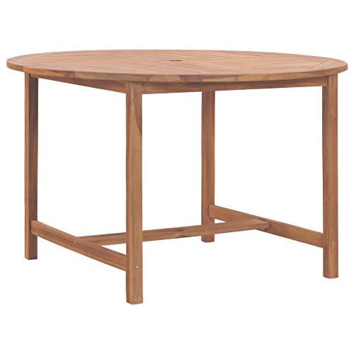 Gartentisch Rund Holz Terassentisch Garten Esstisch Holztisch Beistelltisch Gartenmöbel für Garten Terrasse, 120x76 cm Massivholz Teak