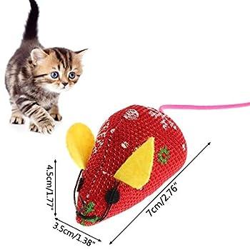 YUESEN Jouet Noël Chat Souris Jouet Chat Souris10pcs Pet New Year Gift Cat Toy Jouet Cataire Interactif Intérieurs et Extérieurs Cadeau de Noël pour Animaux