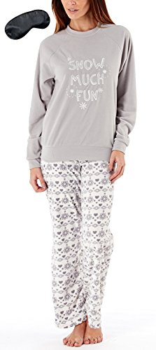 i-Smalls Frauen Snow Much Fun Fleece Pyjama Mit Fair Isle Drucken mit Schwarz Augenmaske (44-46) Grau/Creme
