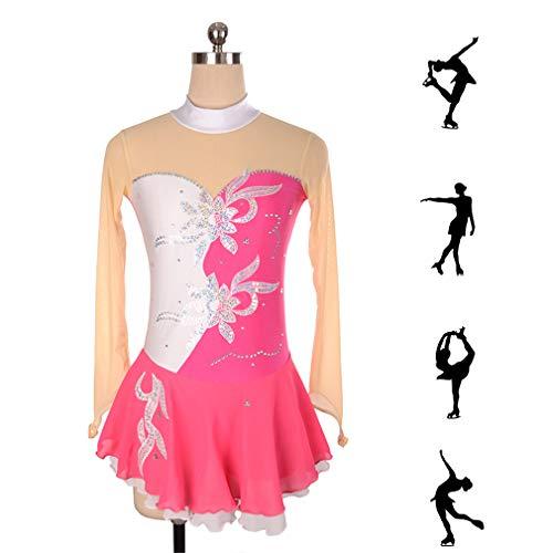 DUBAOBAO Handgemachte Damen-Figating-Kleid, geeignet für alle Frauen, Schlittschuh-Kleid, Unterstützung kostenlose Private Bestellung rosa Skating-Kleid,White,M