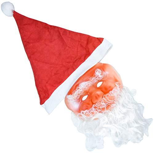 NATEE Maschera di Babbo Natale, Passamontagna Natalizio con Cappello di Natale e Barba Babbo Natale, 60 * 30cm