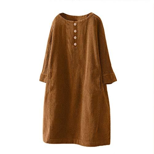 Starne Einfarbiges Cordkleid für Damen lose große Retro-Minikleid mit Taschenknopf und Loser Pulloveroberseite