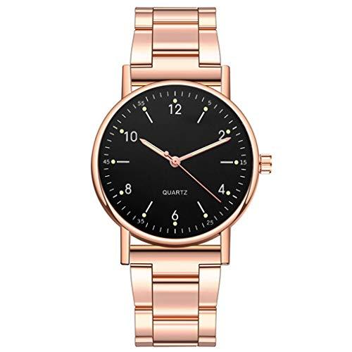 JZDH Relojes para Mujer Las Mujeres Miran a Las señoras Reloj de Cuarzo de Alta Gama de Acero Inoxidable dial Luminoso Ocio Reloj de Damas Relojes Decorativos Casuales para Niñas Damas (Color : B)