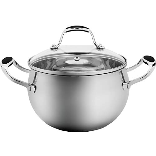 ELITRA Stainless Steel Casserole Pot with Glass Lid For All Stovetops 3 QT - Silver (180103)