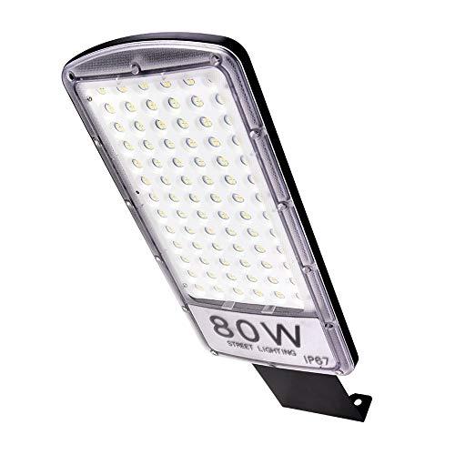 80W LED Straßenlaterne im Freien, IP67 wasserdichte Straßenlampe, Kaltweiß 6000K LED Straßen Flut Lampen Parkplätze im Freien Licht für Garten, Wände, Wege, Patio