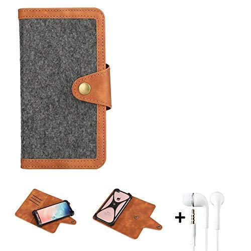 K-S-Trade Handy-Hülle + Kopfhörer Kompatibel Mit Sony Xperia XA2 Dual-SIM Schutz-Hülle Filz-Hülle Kunst-Leder Dunkelgrau Braun (1x)