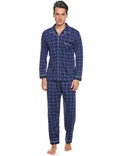 iClosam Herren Pyjama Baumwolle Winter Set,Schlafanzug Langarm Klassisch Warm Streifen Zweiteiliger Shirt Knopf und Pyjamahose