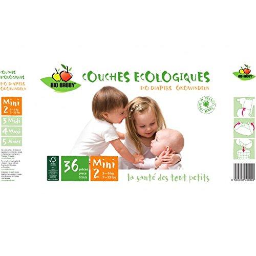Bio Babby Lot de 36 couches écologiques, mini 3 – 6 kg