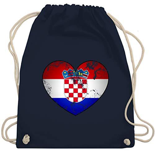 Shirtracer Fussball EM 2021 Fanartikel - Kroatien Vintage Herz - Unisize - Navy Blau - kroatien fußball - WM110 - Turnbeutel und Stoffbeutel aus Baumwolle