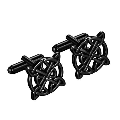 beautlace Mens Celtic Knot Cufflinks Black Gun Plated Good Luck Triquetra Vintage Cuff Links Irish Jewelry Gifts for Men and Women KC0003K