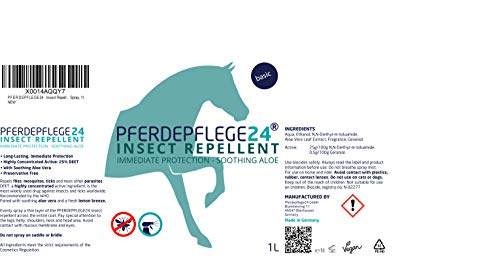 PFERDEPFLEGE24 Horse fly spray & insect repellent spray for immediate & Long-lasting protection with soothing aloe vera & DEET - 0,5l, 1l & 3l - horse fly repellent against fly, mosquito & tick