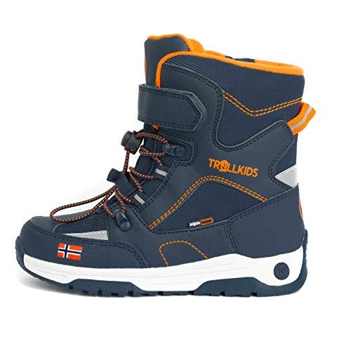 Trollkids Kinder Lofoten Winterstiefel Winter Schuhe XT, Mystik Blau/Orange, Größe 33