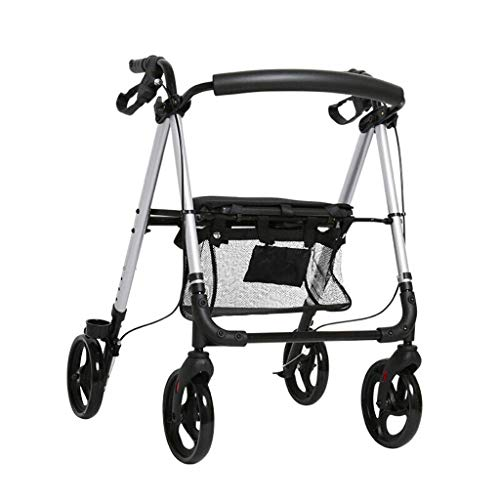 PNYGJZXQ Medical Walker Rollator met zitting, Draagbare opvouwbare Old Man Winkelwagens, Grote Wielen, Remmen, Rugleuning, Mand voor senioren Indoor Outdoor gebruik