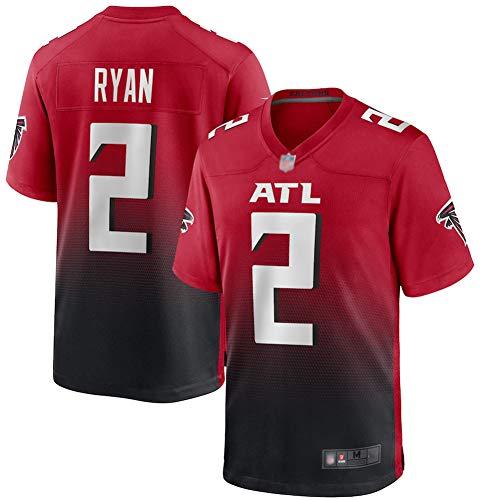 Matt Ryan # 2 American Football Trikot, Atlanta Falcons # 2 Männer Rugby Jersey Fans Training T-Shirts, Besticktes Sport Kurzarmtrikot-red-L(180~185)