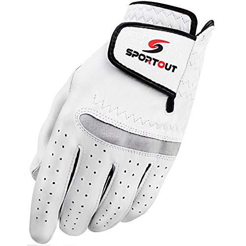Sportout Herren Compression-fit Stable-Grip echtem Cabretta-Leder Golf Handschuh, Super Weich, Flexibel, tragen beständig und angenehm, (M, Links)