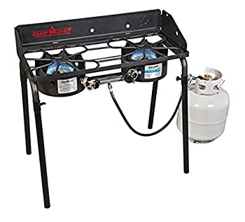 Camp Chef Explorer Two Burner Stove Two 30,000 BTU s cast-aluminum burners Cooking Dimensions  14 in x 32 in