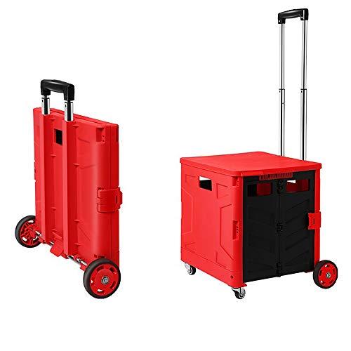 Pack and Go Folding Einkaufswagen, Boot Cart 360 ° Universal Wheel, Shopping Camping Angeln Festival Trolley, Deckel für Lehrer College Bücher Ordner (rot),Medium