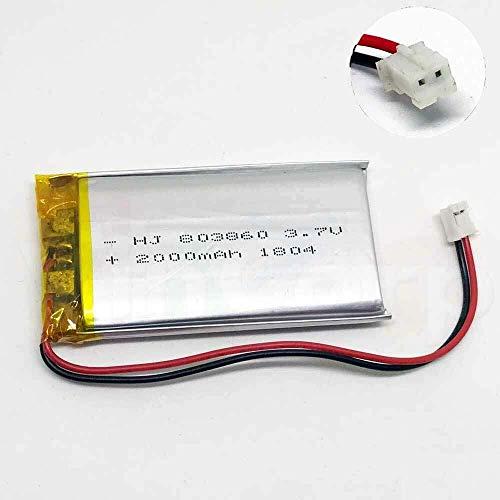 1x Lipo Akku 1s 3,7V 2000mAh JST PH Stecker Empfänger Sender Drohne Quadrocopter UFO PCB 803860 kabellos wiederaufladbar Bluetooth Headset Schlüsselanhänger Cam Uhr Video Baby Monitore etc.