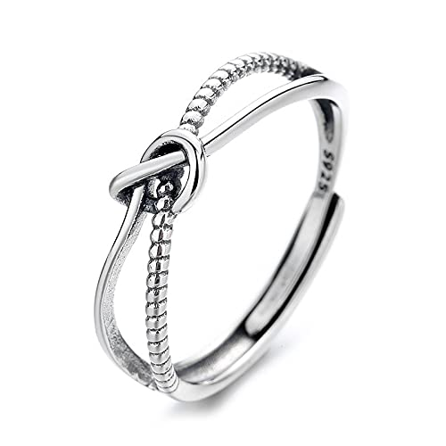 awaFanee S925 Sterling Silver Open Rings Love Knot X Finger Joint Toe Ring Party Wedding Jewelry Gifts Women Girls Adjustable Size 5-10 Clearance