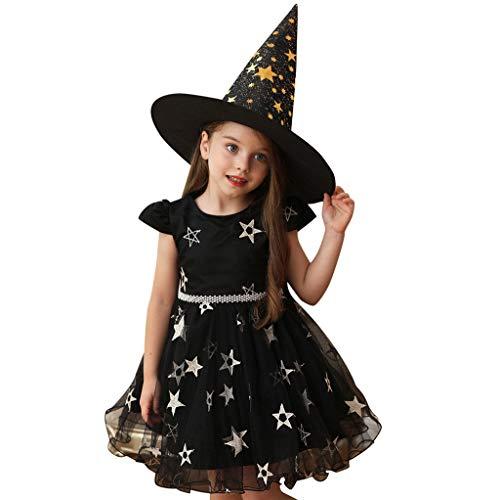 Cosplay Kostüm Mädchen Kleid Lila Halloween Party Cosplay Hexe Prinzessin Kleid Babay Mädchen Kleider Festlich Kurze Rock Cosplay Kostüme Minirock Kurzarm Kleider und Zaubererhut
