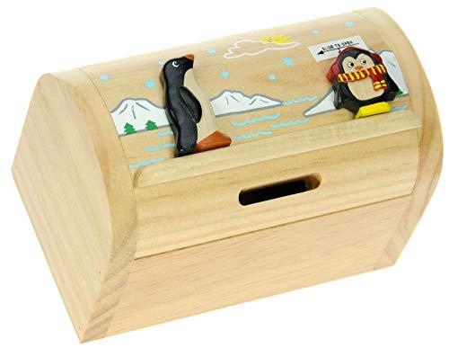 Namesakes Pinguin : Sparschwein Spardose Kinder : Geschenk für Jungen oder Mädchen : Mini Schatztruhe mit Schloss