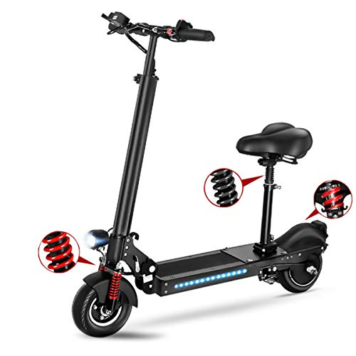 Dapang Rugged 36V 350W Electric Fat Tire Scooters,Lightweight Foldable,100Miles Long Range Speed 40 MPH - Black,100KM,Seat