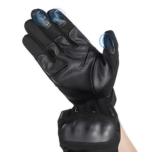 Audew Motorradhandschuhe Winter Upgraded Handschuhe Motorrad Winter-Motorradhandschuhe Schutzhandschuh Motorradhülle Handgriff montiert, Wasserdicht, Leder Motorrad-Lenker-Handschuhe, für Motorräder, Roller
