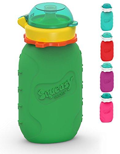 Squeasy Snacker, 180ml - Grün - Wiederverwendbares Quetschie aus Silikon. Quetschbeutel zum selbst befüllen, BPA-frei