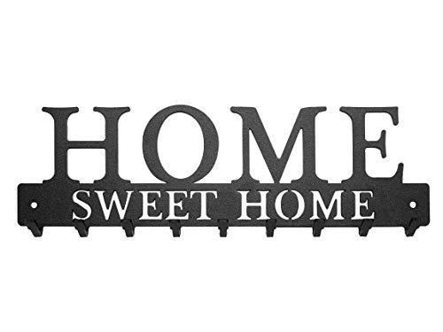 Porte-Clés Mural Home Sweet Home Métal composé de 9 Crochets, Fabrication Artisanale Française, Déco Design & Moderne, Rangement & Organisation Maison (Noir)